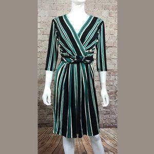 Jessica Simpson Dress Large Green Stripe Long Slv